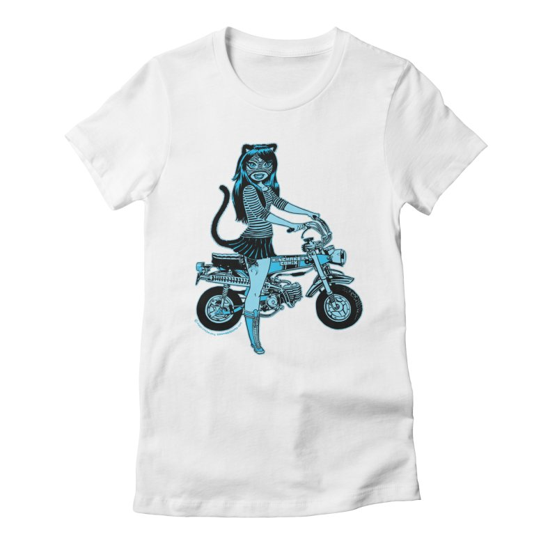 Lucha Biker white Women's Fitted T-Shirt by KINGMAKERS's Artist Shop