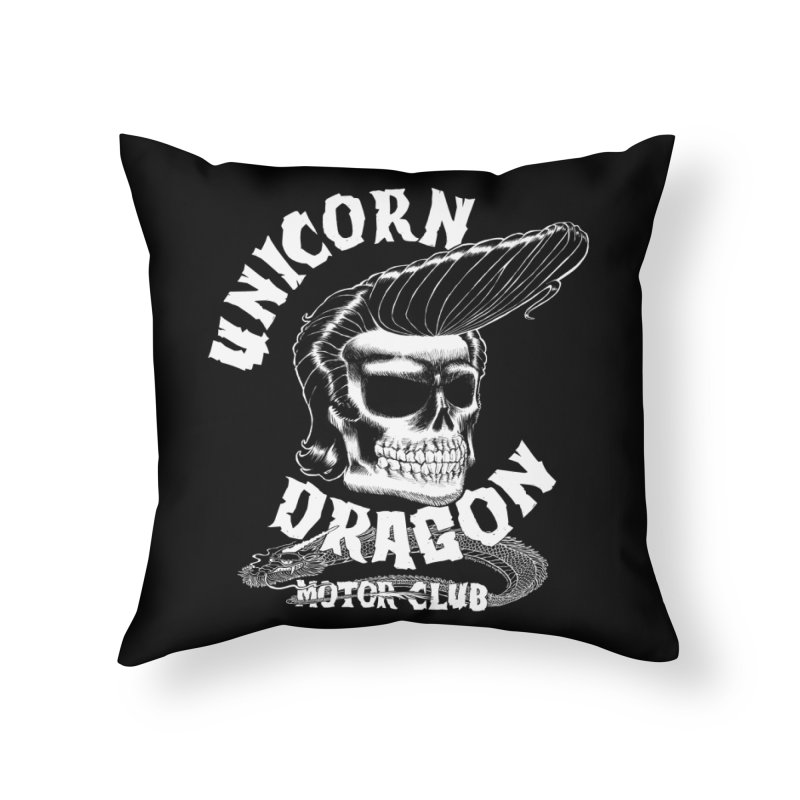 Unicorn Dragon Motor Club Home Throw Pillow by KINGMAKERS's Artist Shop