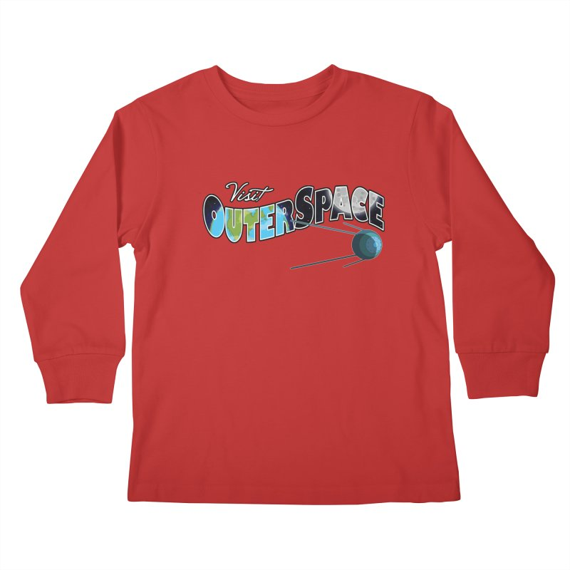See The Stars, Visit Outer Space Kids Longsleeve T-Shirt by Kamonkey's Artist Shop