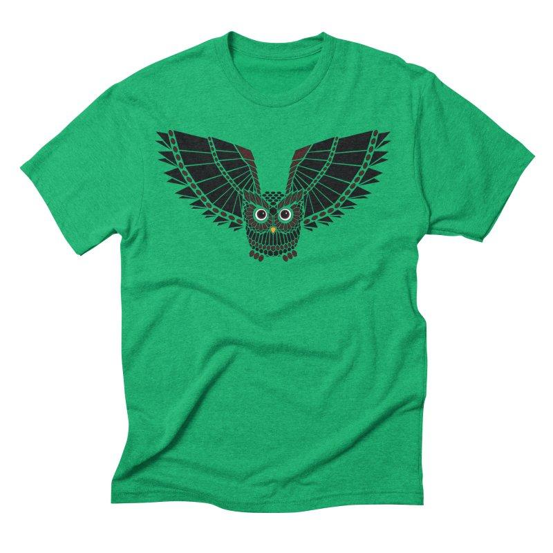 The Great Geometric Owl Men's Triblend T-Shirt by Kamonkey's Artist Shop
