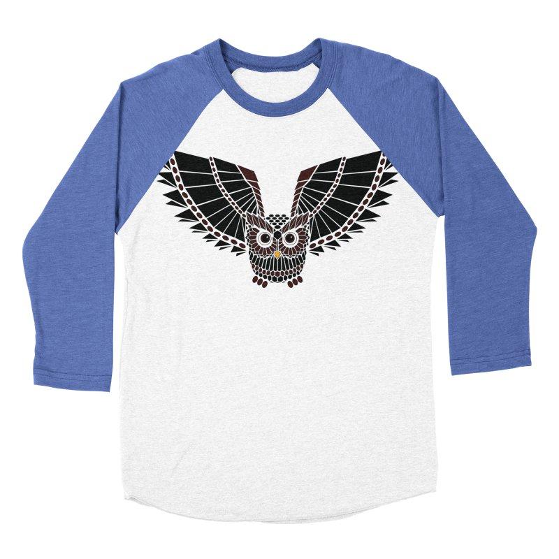 The Great Geometric Owl Men's Baseball Triblend T-Shirt by Kamonkey's Artist Shop