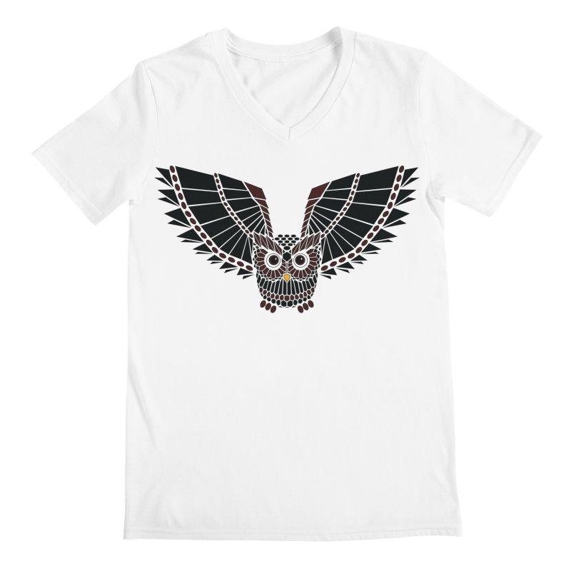 The Great Geometric Owl Men's Regular V-Neck by Kamonkey's Artist Shop
