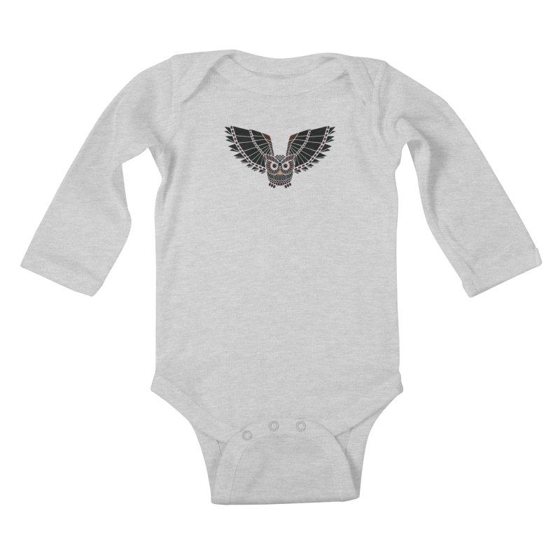 The Great Geometric Owl Kids Baby Longsleeve Bodysuit by Kamonkey's Artist Shop