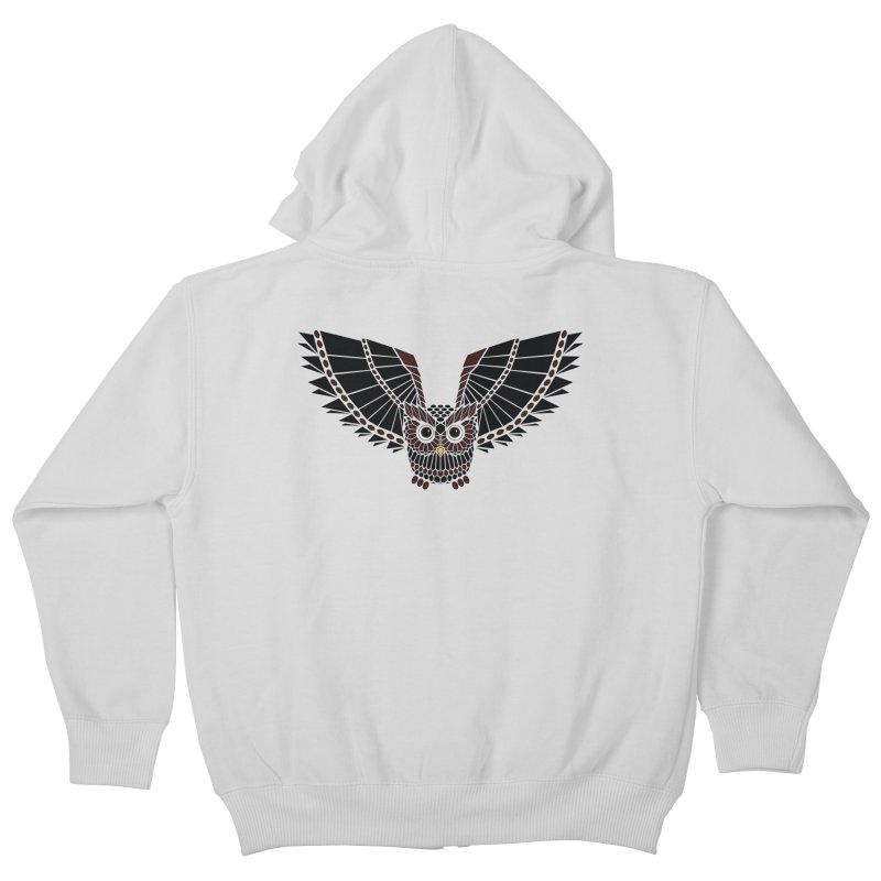 The Great Geometric Owl Kids Zip-Up Hoody by Kamonkey's Artist Shop