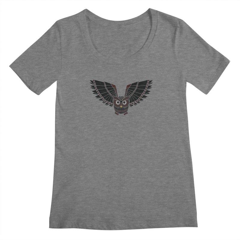 The Great Geometric Owl Women's Scoopneck by Kamonkey's Artist Shop