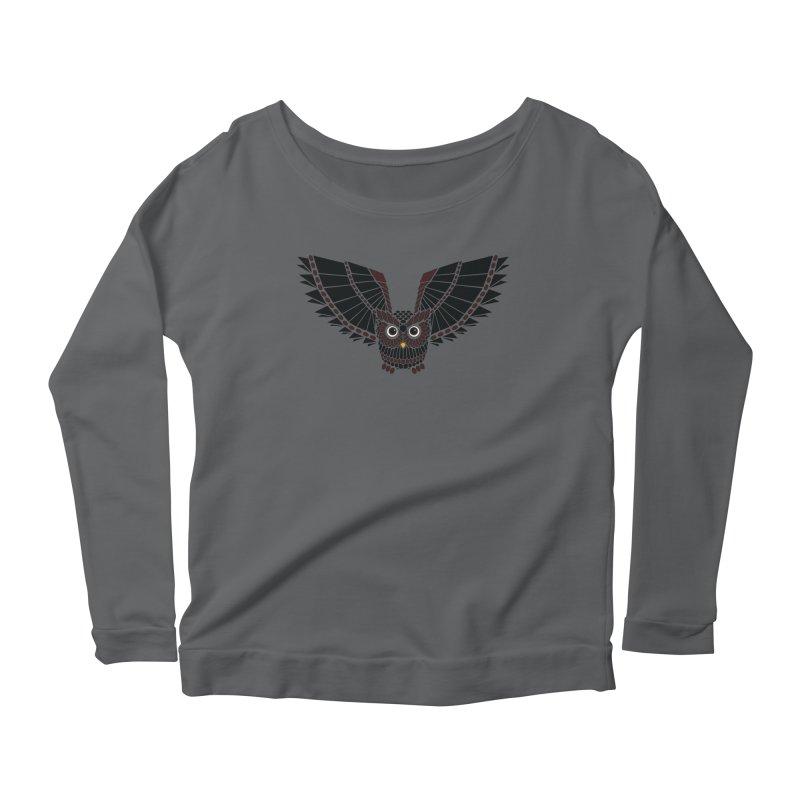 The Great Geometric Owl Women's Scoop Neck Longsleeve T-Shirt by Kamonkey's Artist Shop