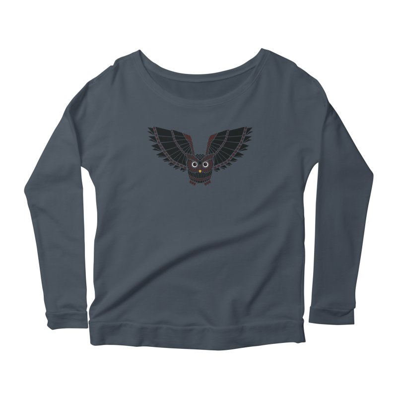 The Great Geometric Owl Women's Scoop Neck Longsleeve T-Shirt by Kamonkey's Artist Shop
