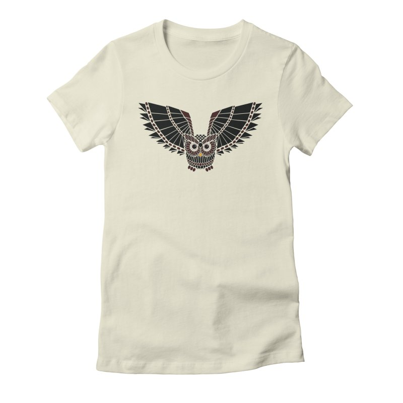 The Great Geometric Owl Women's Fitted T-Shirt by Kamonkey's Artist Shop