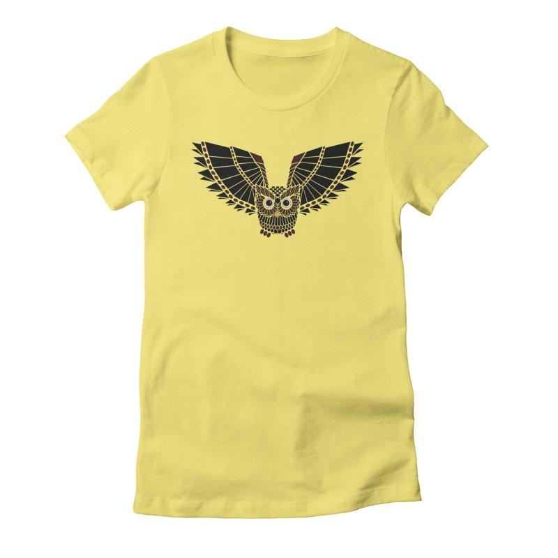 The Great Geometric Owl Women's Fitted T-Shirt by Kamonkey's Artist Shop