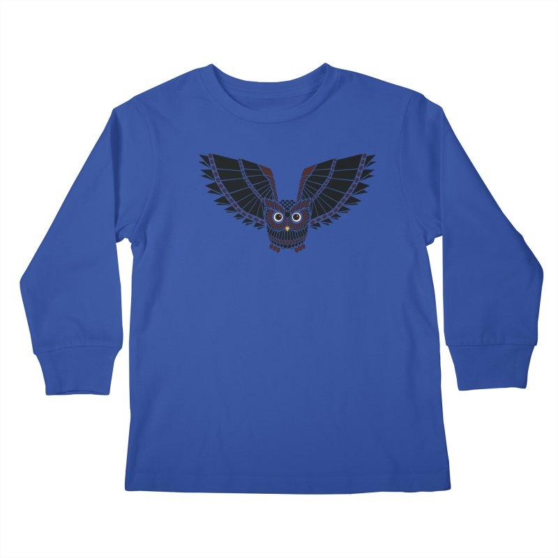 The Great Geometric Owl Kids Longsleeve T-Shirt by Kamonkey's Artist Shop