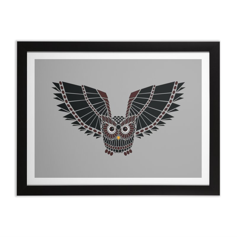 The Great Geometric Owl Home Framed Fine Art Print by Kamonkey's Artist Shop