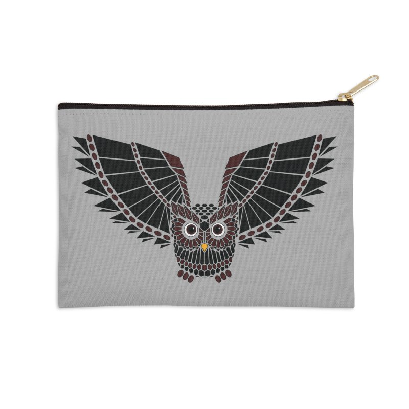 The Great Geometric Owl Accessories Zip Pouch by Kamonkey's Artist Shop