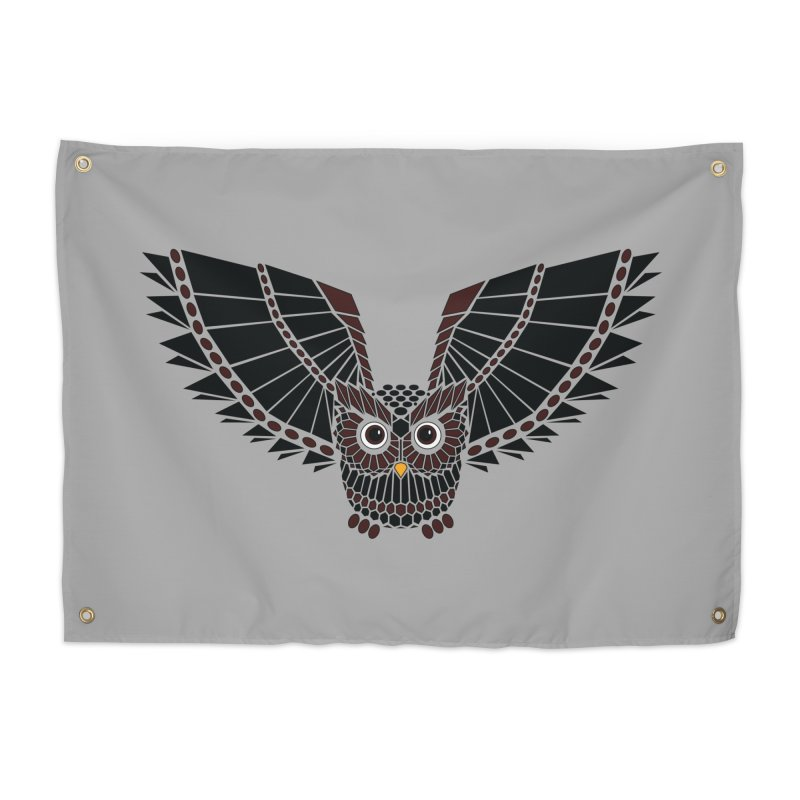 The Great Geometric Owl Home Tapestry by Kamonkey's Artist Shop