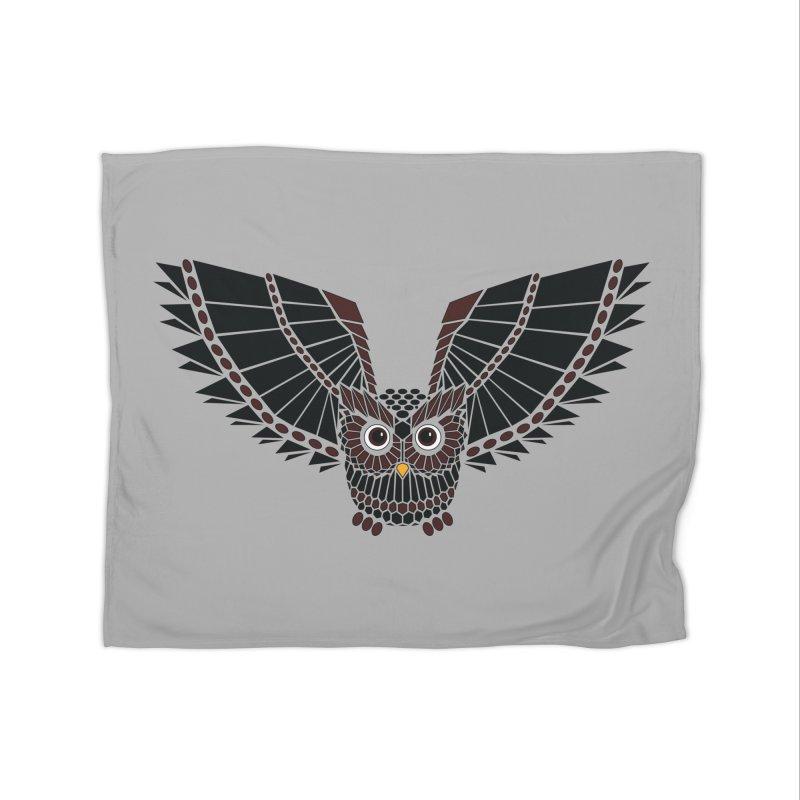 The Great Geometric Owl Home Fleece Blanket Blanket by Kamonkey's Artist Shop