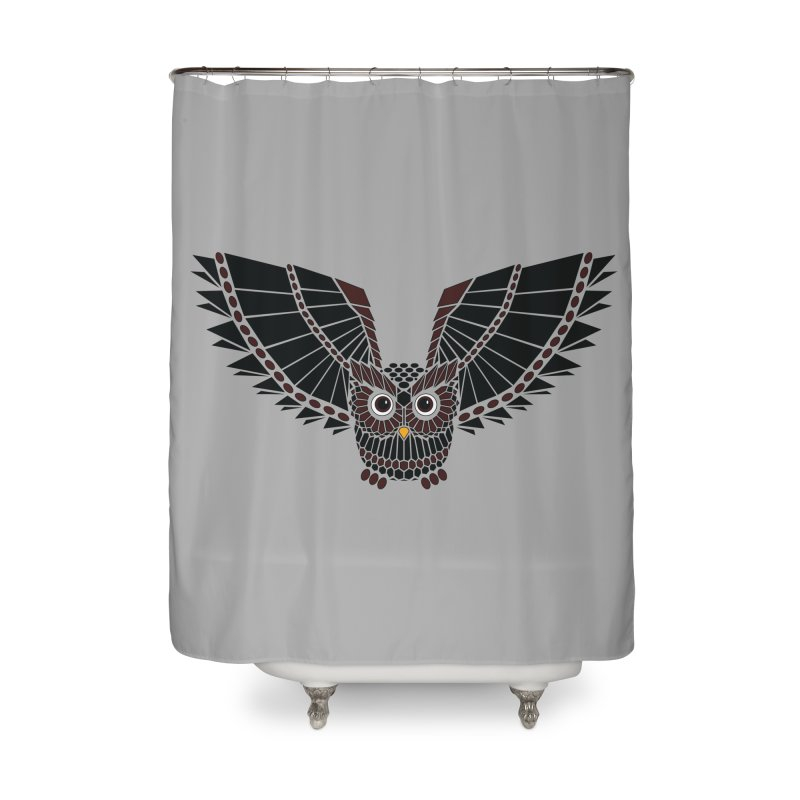 The Great Geometric Owl Home Shower Curtain by Kamonkey's Artist Shop
