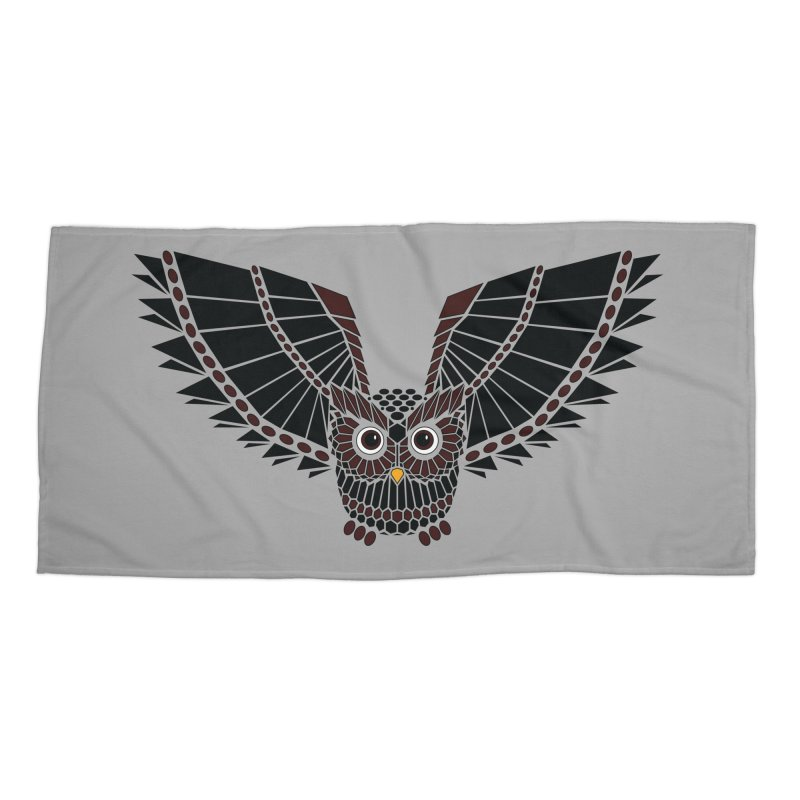 The Great Geometric Owl Accessories Beach Towel by Kamonkey's Artist Shop