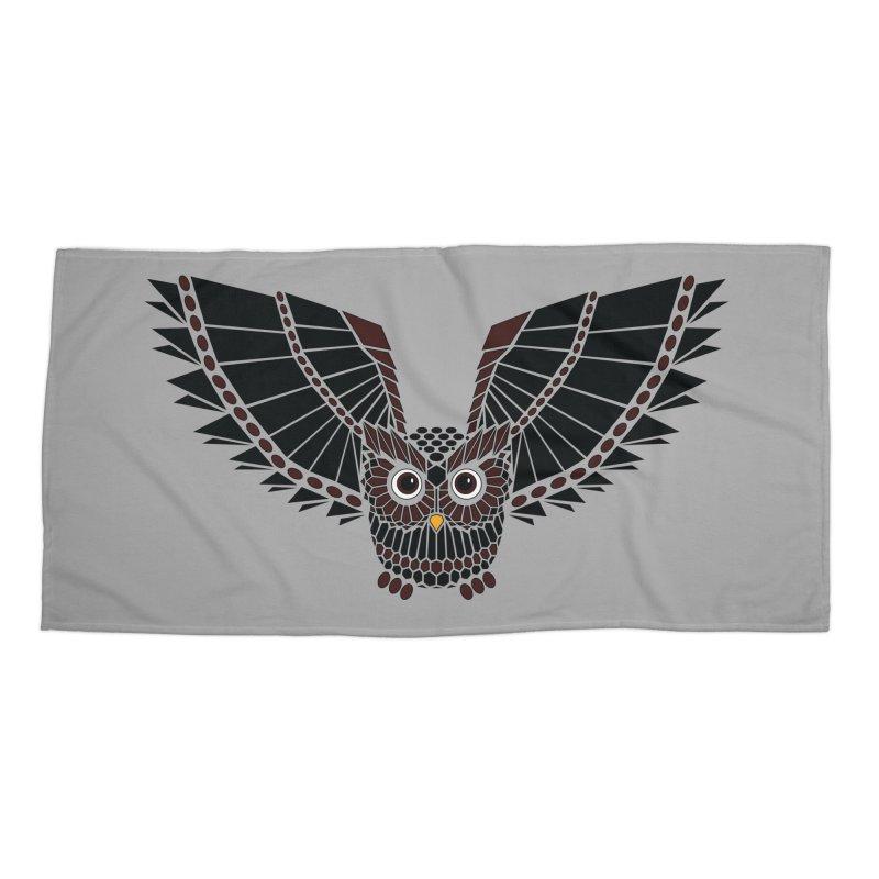 The Great Geometric Owl Accessories Beach Towel by Kamonkey's Artist Shop