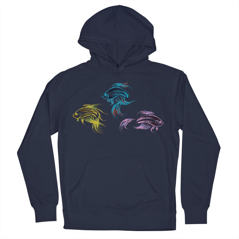 Neon Betta Fish Men's French Terry Pullover Hoody by Kamonkey's Artist Shop
