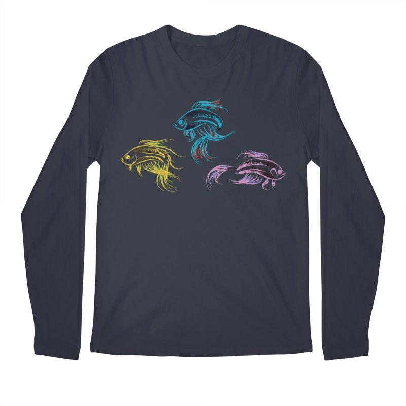 Neon Betta Fish Men's Longsleeve T-Shirt by Kamonkey's Artist Shop