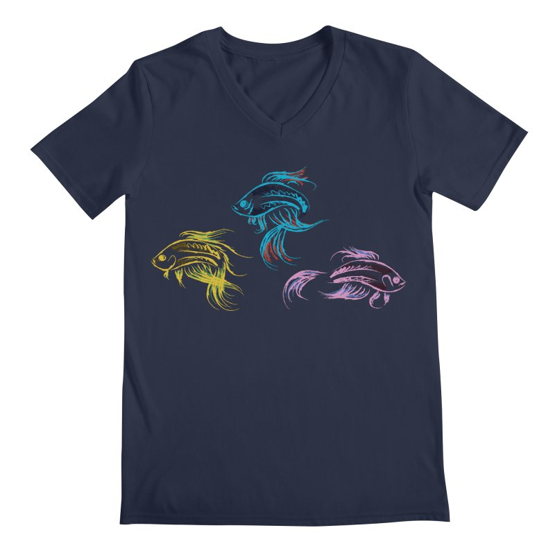 Neon Betta Fish Men's V-Neck by Kamonkey's Artist Shop