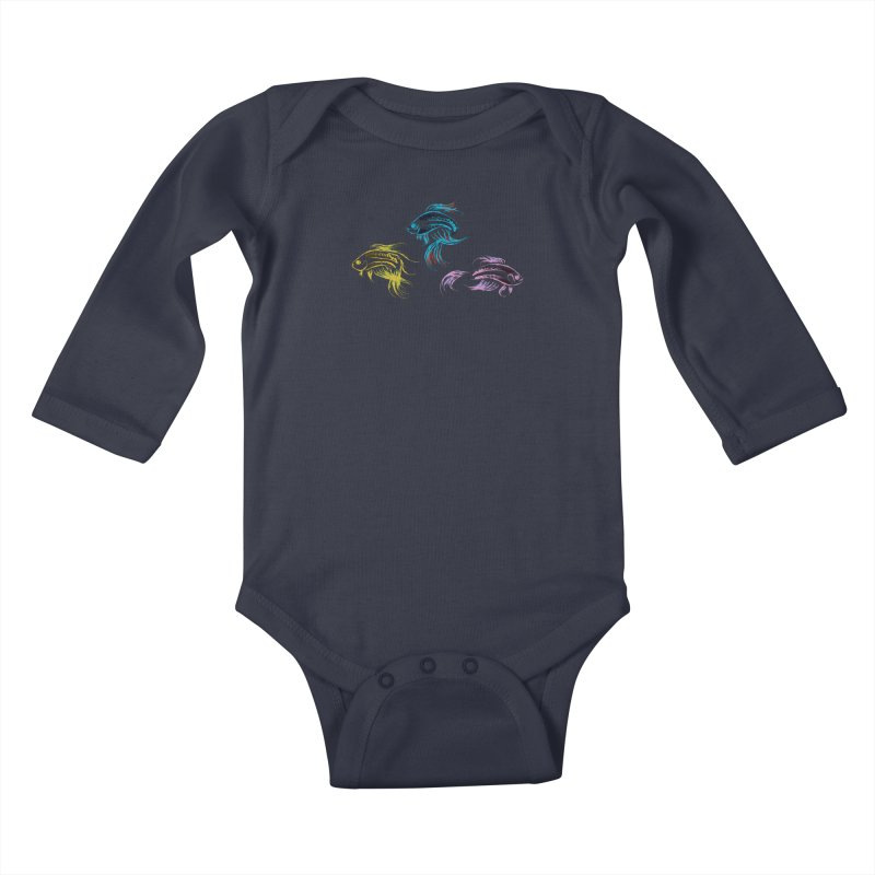 Neon Betta Fish Kids Baby Longsleeve Bodysuit by Kamonkey's Artist Shop