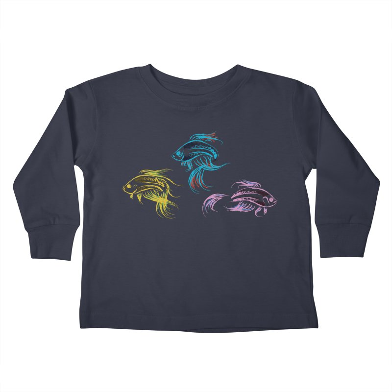 Neon Betta Fish Kids Toddler Longsleeve T-Shirt by Kamonkey's Artist Shop