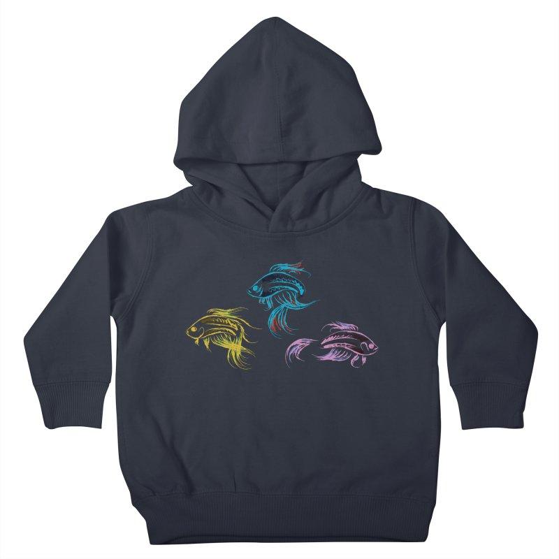 Neon Betta Fish Kids Toddler Pullover Hoody by Kamonkey's Artist Shop