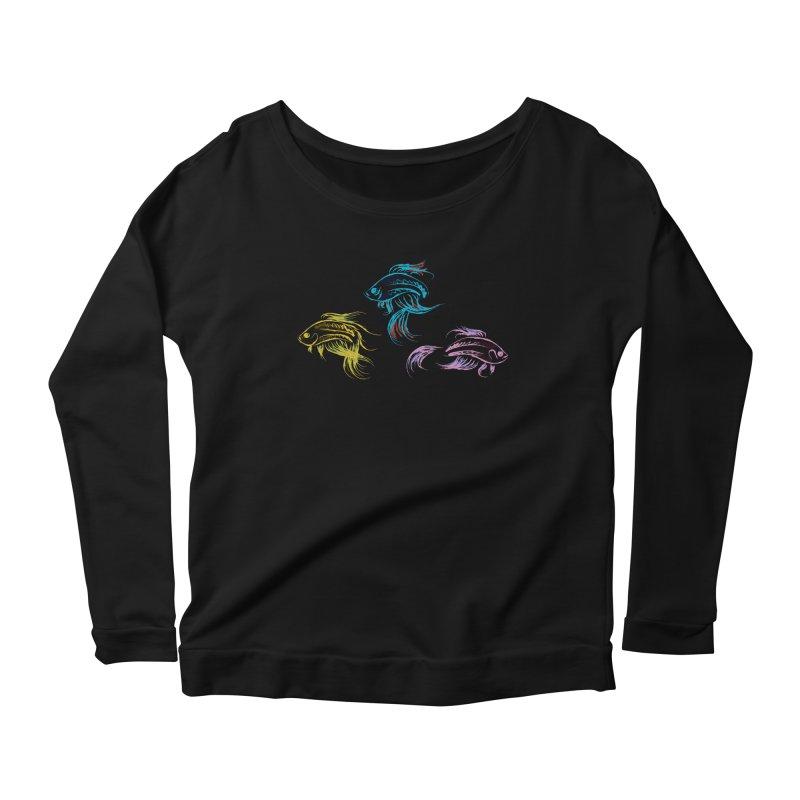 Neon Betta Fish Women's Longsleeve Scoopneck  by Kamonkey's Artist Shop