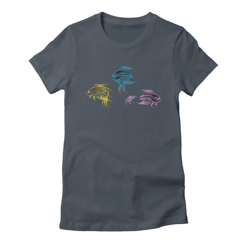 Neon Betta Fish Women's Fitted T-Shirt by Kamonkey's Artist Shop