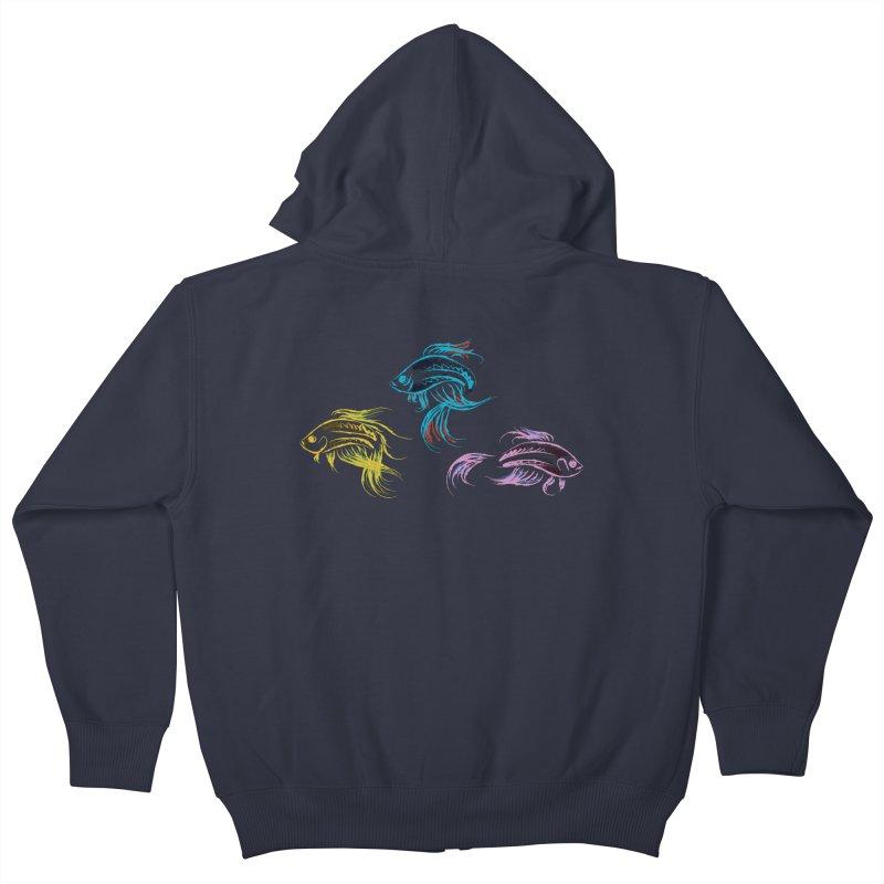 Neon Betta Fish Kids Zip-Up Hoody by Kamonkey's Artist Shop