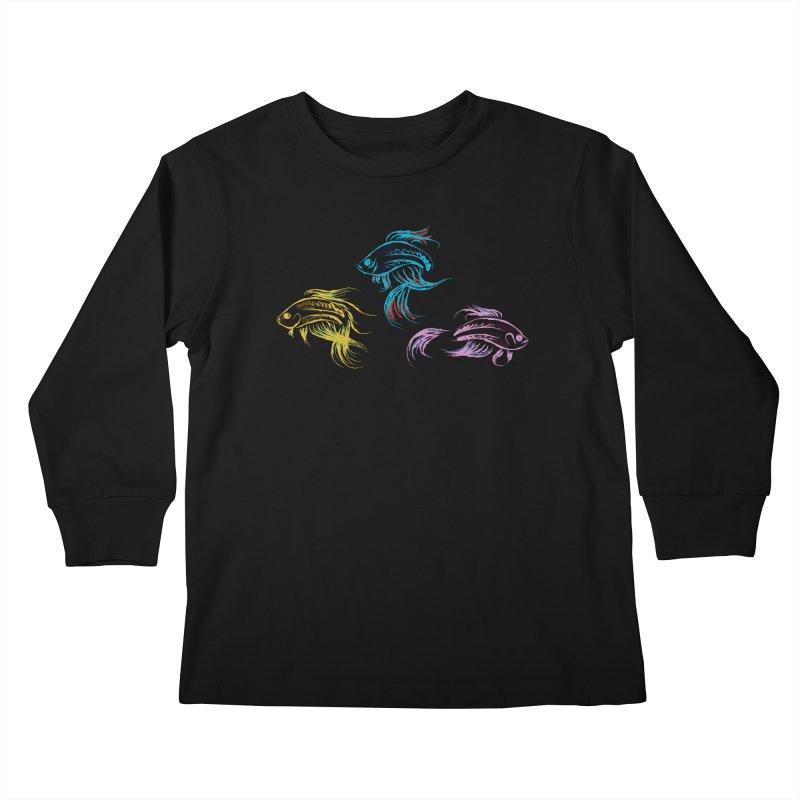 Neon Betta Fish Kids Longsleeve T-Shirt by Kamonkey's Artist Shop