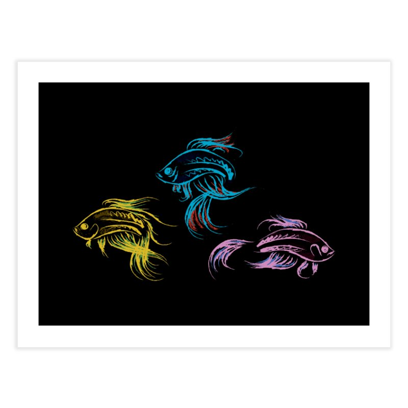 Neon Betta Fish Home Fine Art Print by Kamonkey's Artist Shop