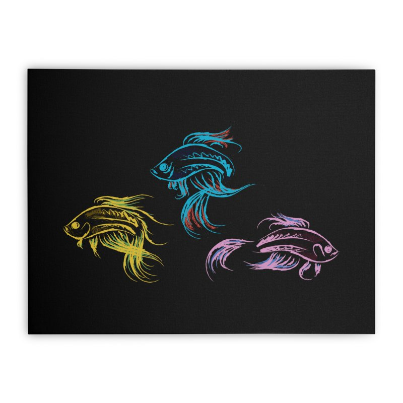Neon Betta Fish Home Stretched Canvas by Kamonkey's Artist Shop