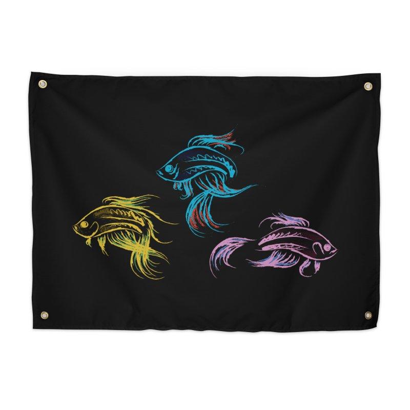 Neon Betta Fish Home Tapestry by Kamonkey's Artist Shop