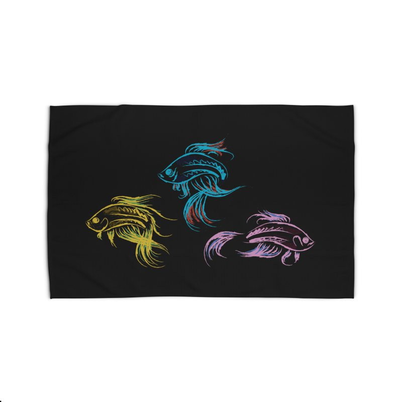 Neon Betta Fish Home Rug by Kamonkey's Artist Shop