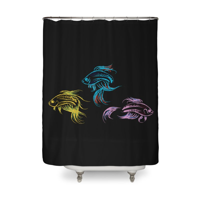 Neon Betta Fish Home Shower Curtain by Kamonkey's Artist Shop
