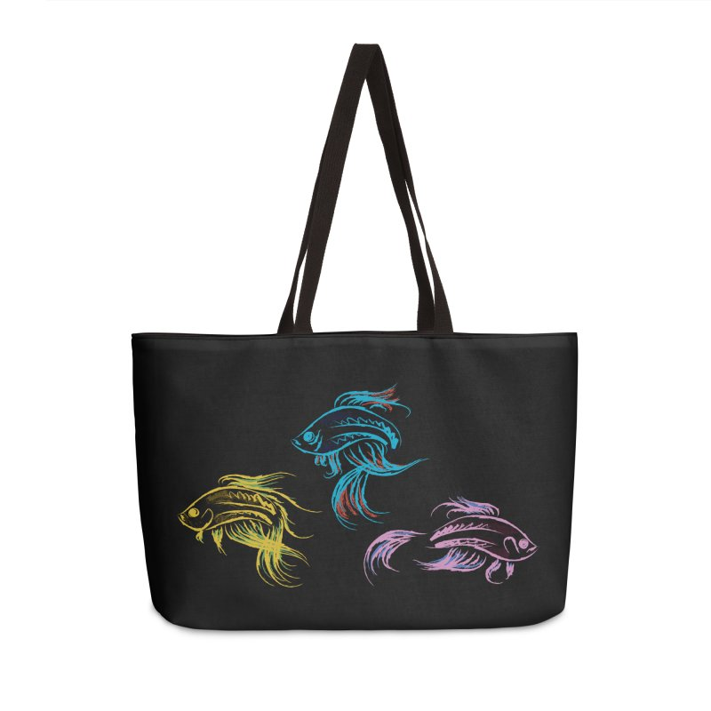 Neon Betta Fish Accessories Weekender Bag Bag by Kamonkey's Artist Shop