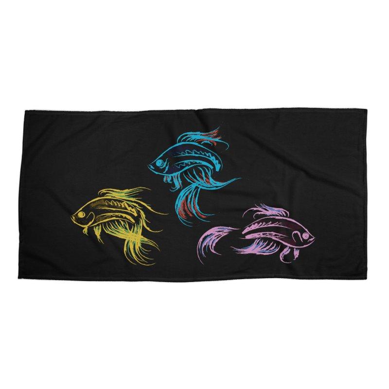 Neon Betta Fish Accessories Beach Towel by Kamonkey's Artist Shop