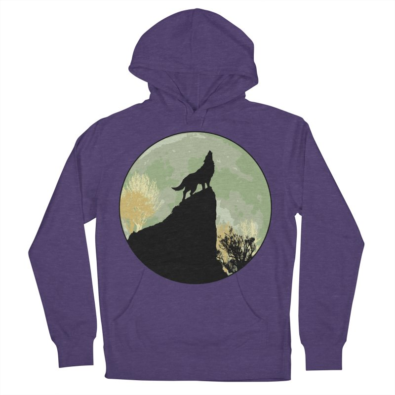 Wolf Howling Women's French Terry Pullover Hoody by Kamonkey's Artist Shop