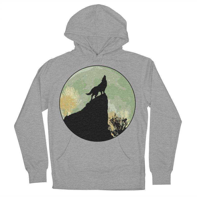 Wolf Howling Men's French Terry Pullover Hoody by Kamonkey's Artist Shop