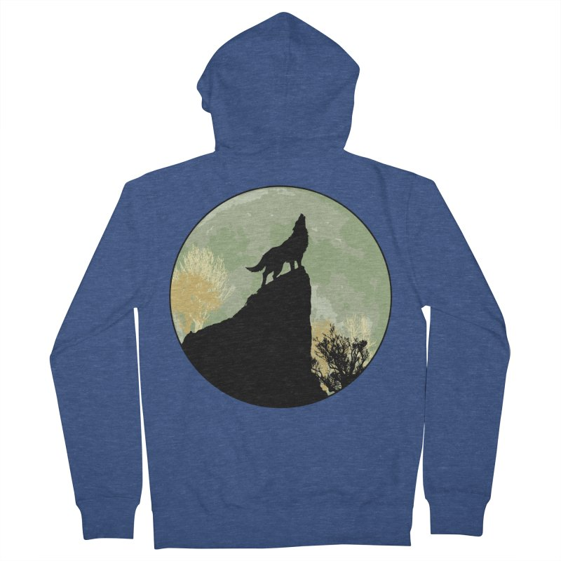 Wolf Howling Women's French Terry Zip-Up Hoody by Kamonkey's Artist Shop