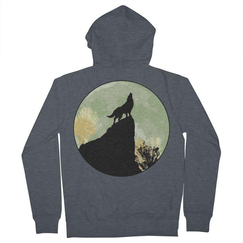 Wolf Howling Men's Zip-Up Hoody by Kamonkey's Artist Shop