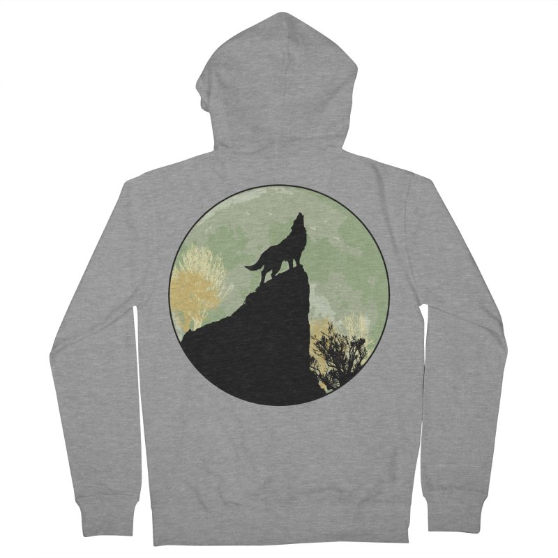 Wolf Howling Men's French Terry Zip-Up Hoody by Kamonkey's Artist Shop