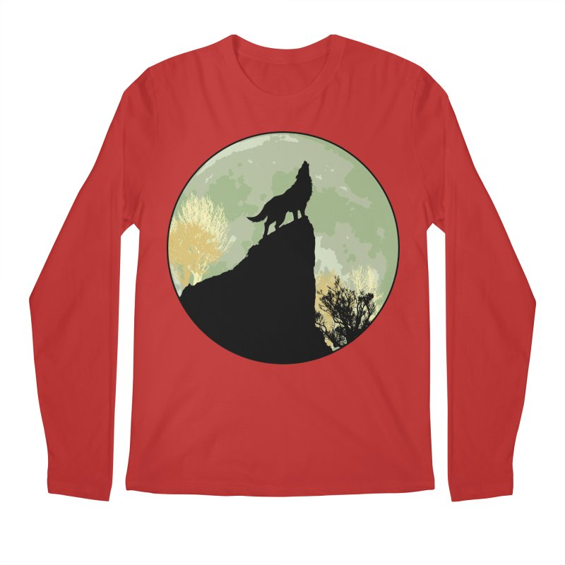 Wolf Howling Men's Regular Longsleeve T-Shirt by Kamonkey's Artist Shop