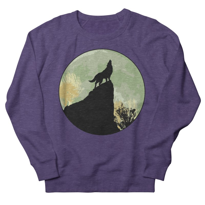 Wolf Howling Women's French Terry Sweatshirt by Kamonkey's Artist Shop