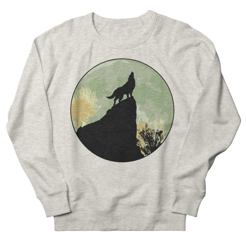 Wolf Howling Men's French Terry Sweatshirt by Kamonkey's Artist Shop