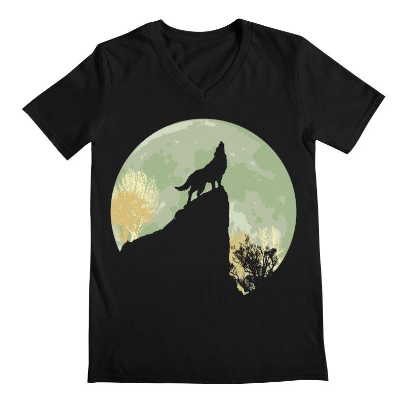 Wolf Howling Men's V-Neck by Kamonkey's Artist Shop