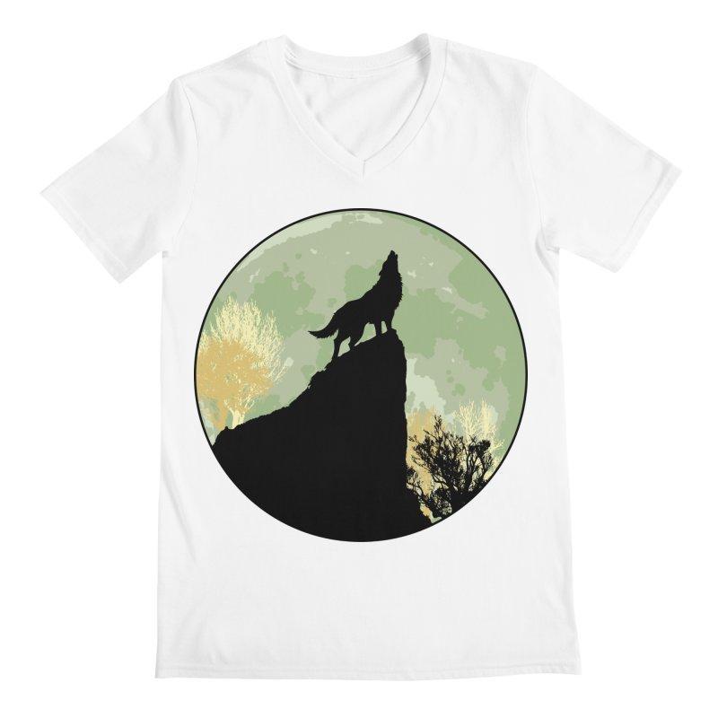 Wolf Howling Men's Regular V-Neck by Kamonkey's Artist Shop