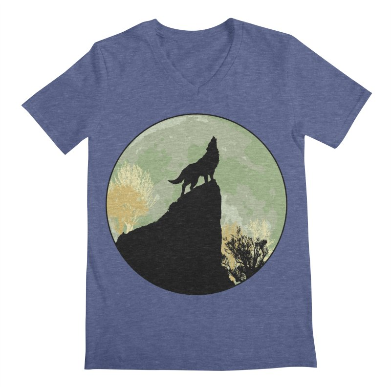 Wolf Howling Men's V-Neck by Kamonkey's Artist Shop