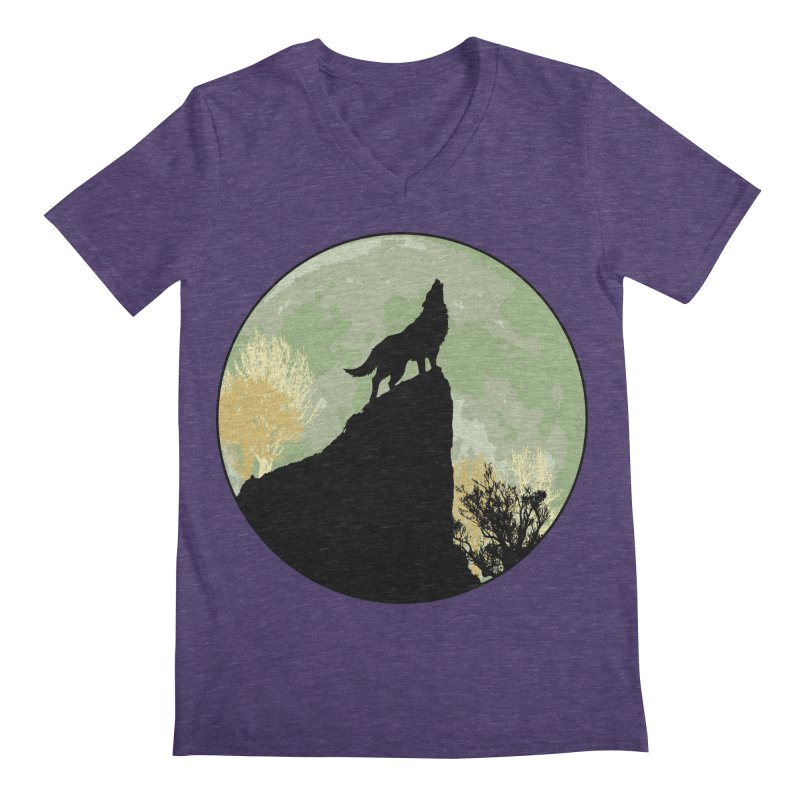 Wolf Howling Men's Regular V-Neck by Kamonkey's Artist Shop